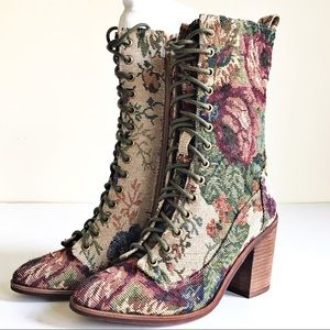 Jeffrey Campbell Nashua Floral Tapestry Boots 6.5